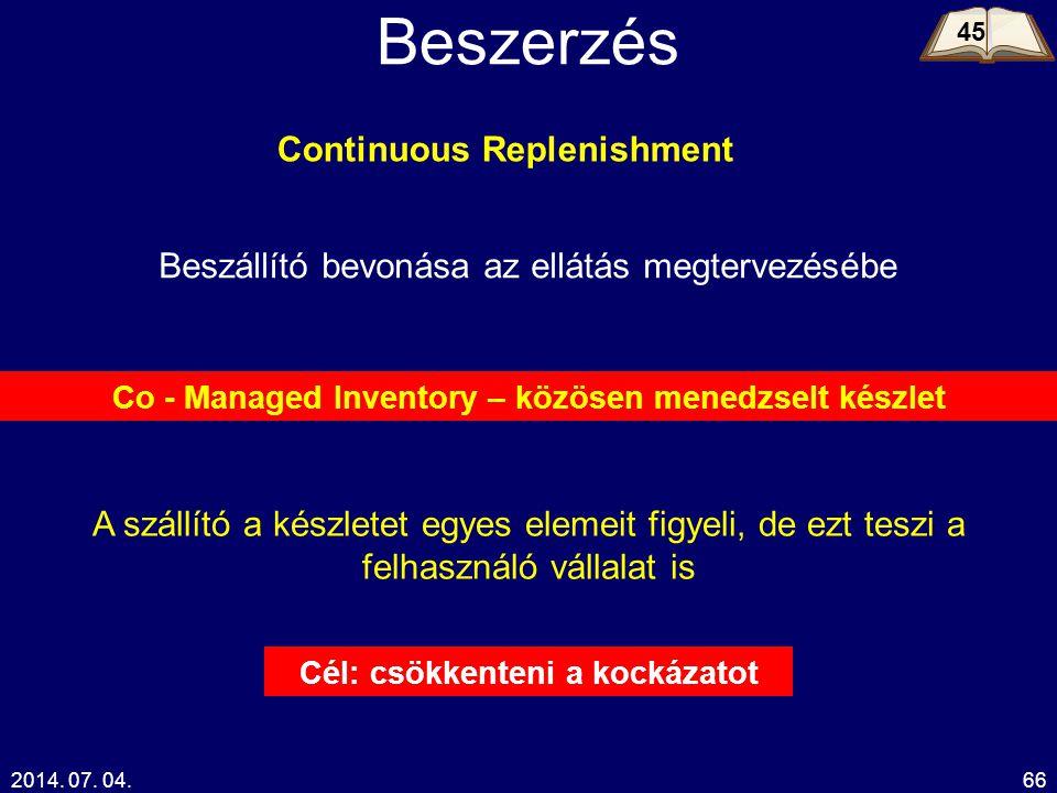 2014. 07. 04.66 Beszerzés Beszállító bevonása az ellátás megtervezésébe Continuous Replenishment Co - Managed Inventory – közösen menedzselt készlet A