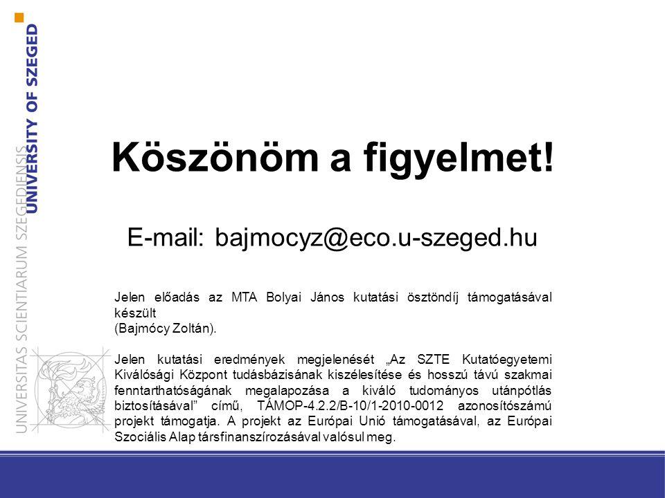 Köszönöm a figyelmet! E-mail: bajmocyz@eco.u-szeged.hu Jelen előadás az MTA Bolyai János kutatási ösztöndíj támogatásával készült (Bajmócy Zoltán). Je