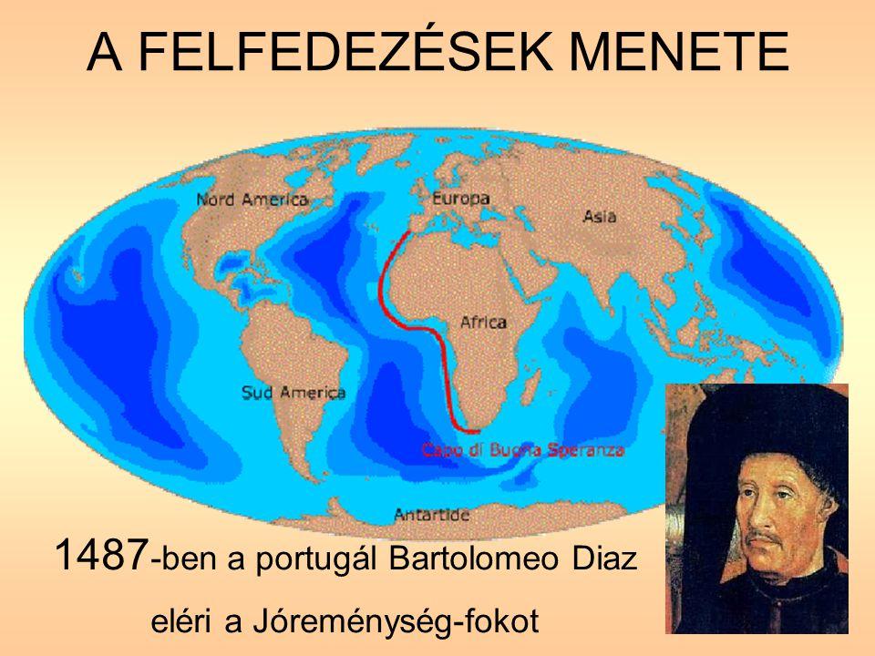 A FELFEDEZÉSEK MENETE 1487 -ben a portugál Bartolomeo Diaz eléri a Jóreménység-fokot