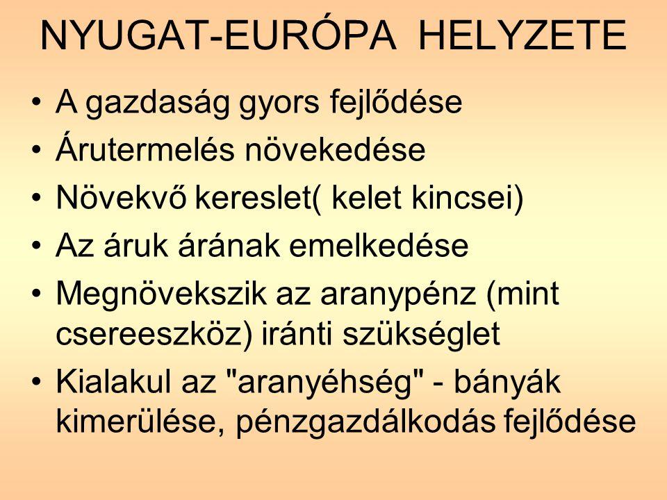 A FELFEDEZÉSEK ELŐZMÉNYEI •A nemesfém kiáramlása Európából •A török terjeszkedése •A keleti kereskedelem ellenőrzése török kézben (drágulás) •Velence kereskedelmi monopóliuma •A portugálok meg akarják törni Velence uralmát