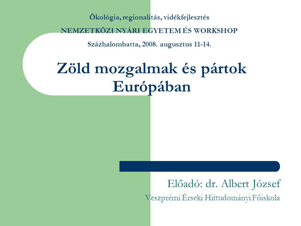 Zöld mozgalmak és pártok Európában Előadó: dr.