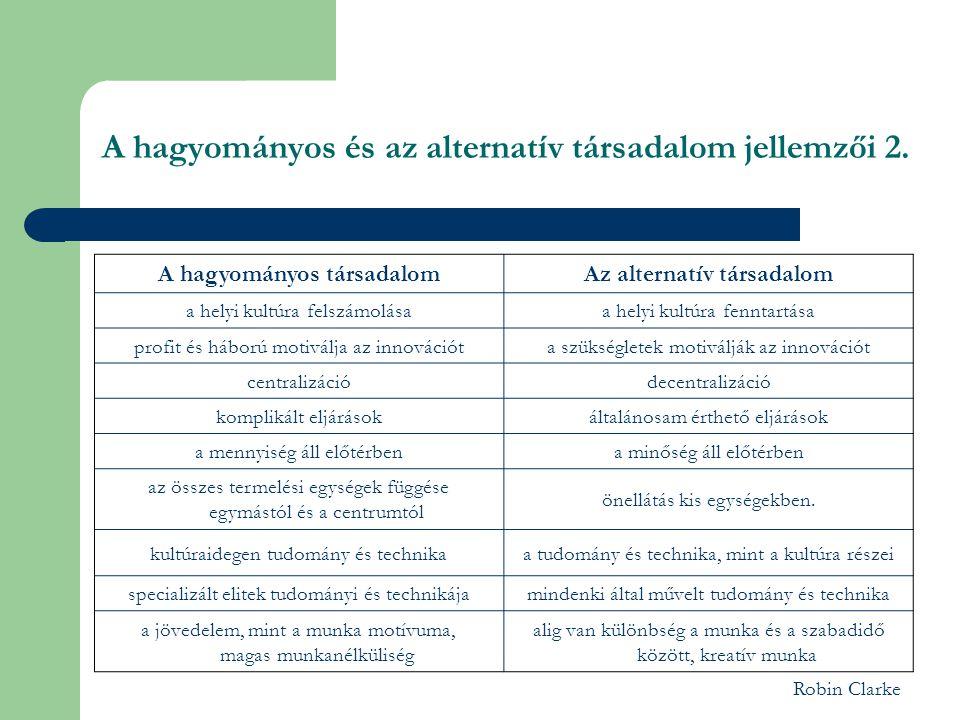 A hagyományos és az alternatív társadalom jellemzői 2.