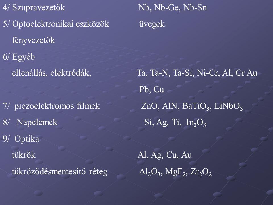 4/ Szupravezetők Nb, Nb-Ge, Nb-Sn 5/ Optoelektronikai eszközök üvegek fényvezetők 6/ Egyéb ellenállás, elektródák, Ta, Ta-N, Ta-Si, Ni-Cr, Al, Cr Au P