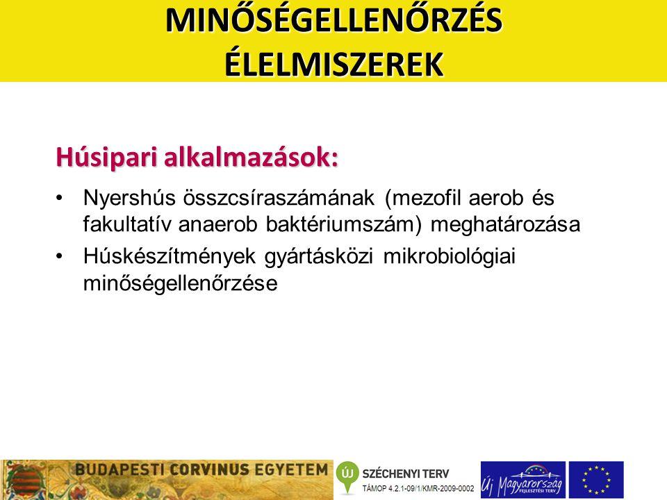 Húsipari alkalmazások: •Nyershús összcsíraszámának (mezofil aerob és fakultatív anaerob baktériumszám) meghatározása •Húskészítmények gyártásközi mikrobiológiai minőségellenőrzése MINŐSÉGELLENŐRZÉS ÉLELMISZEREK