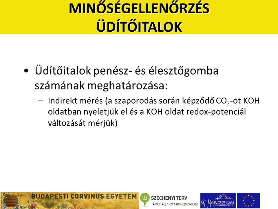 •Üdítőitalok penész- és élesztőgomba számának meghatározása: –Indirekt mérés (a szaporodás során képződő CO 2 -ot KOH oldatban nyeletjük el és a KOH o