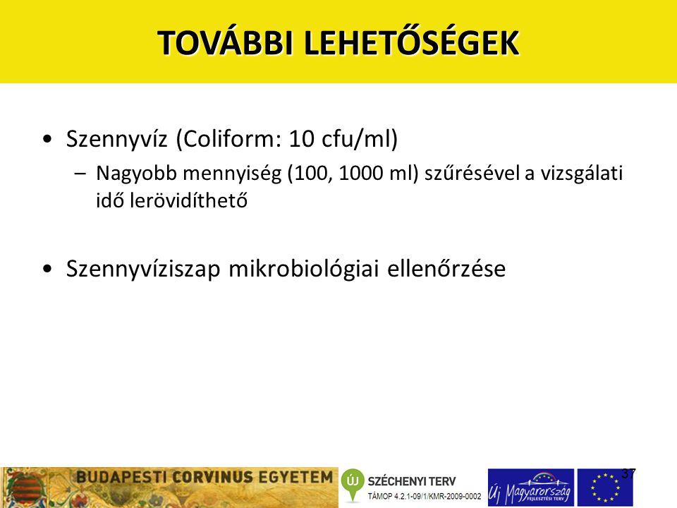 37 •Szennyvíz (Coliform: 10 cfu/ml) –Nagyobb mennyiség (100, 1000 ml) szűrésével a vizsgálati idő lerövidíthető •Szennyvíziszap mikrobiológiai ellenőr