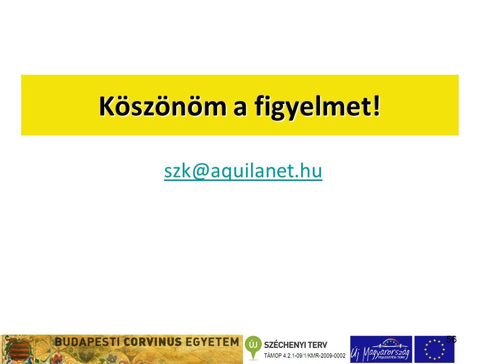 56 Köszönöm a figyelmet! szk@aquilanet.hu