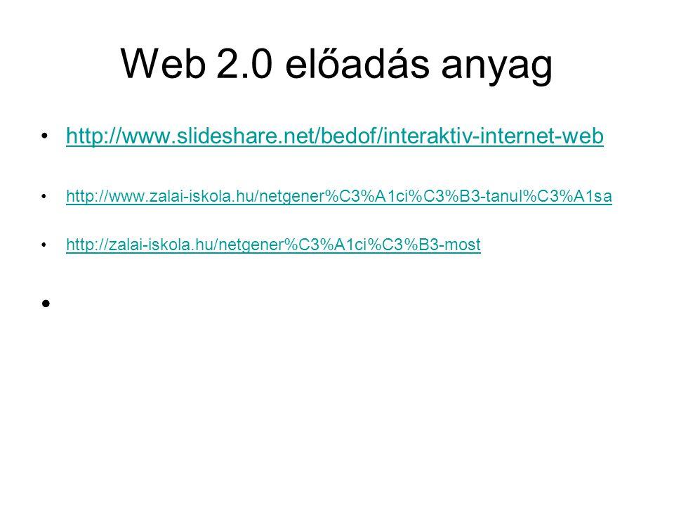 Web 2.0 előadás anyag •http://www.slideshare.net/bedof/interaktiv-internet-webhttp://www.slideshare.net/bedof/interaktiv-internet-web •http://www.zala