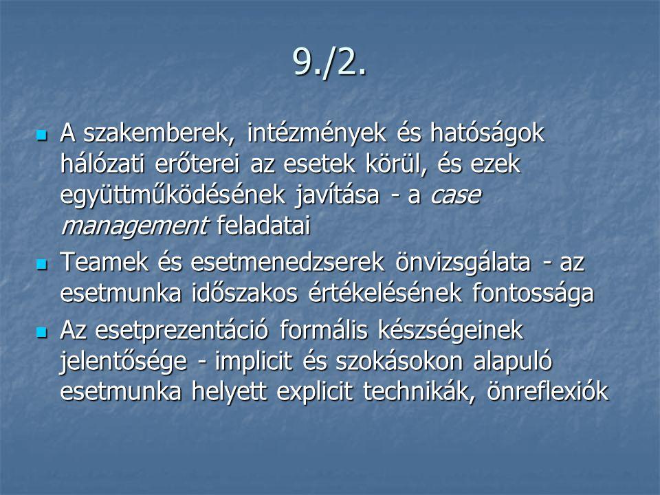 9./2.  A szakemberek, intézmények és hatóságok hálózati erőterei az esetek körül, és ezek együttműködésének javítása - a case management feladatai 
