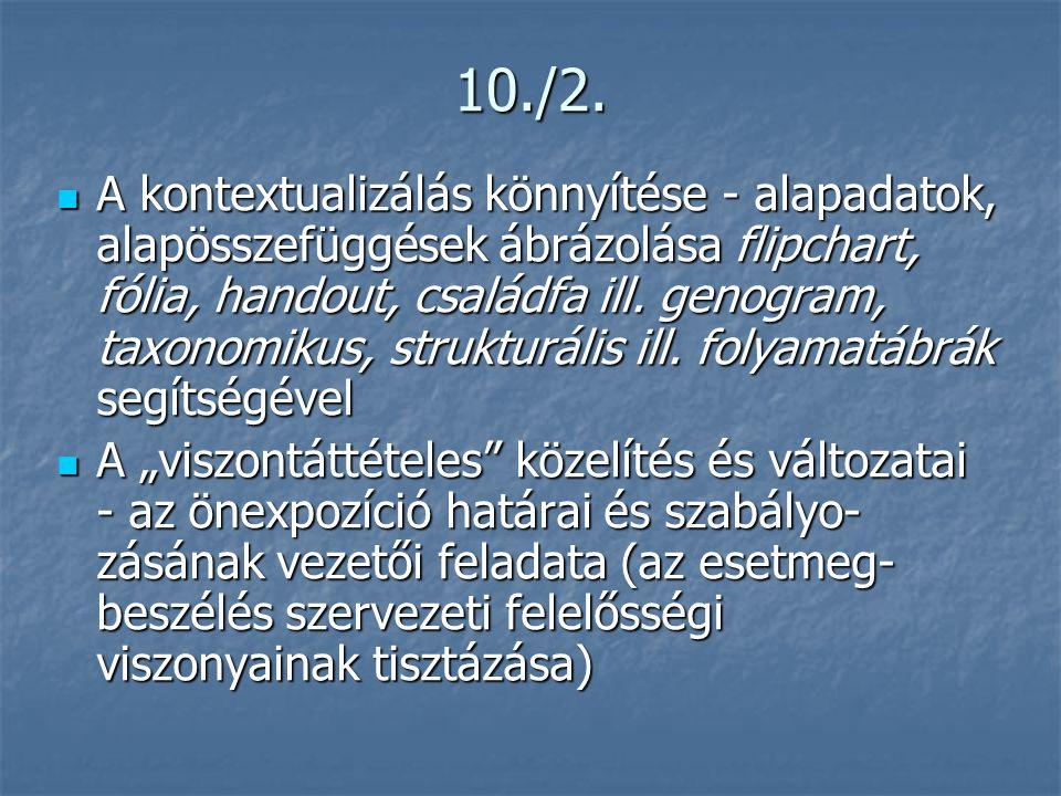 10./2.  A kontextualizálás könnyítése - alapadatok, alapösszefüggések ábrázolása flipchart, fólia, handout, családfa ill. genogram, taxonomikus, stru