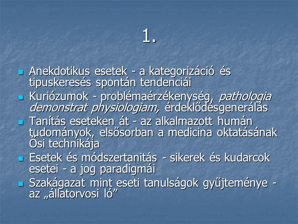 1.  Anekdotikus esetek - a kategorizáció és tipuskeresés spontán tendenciái  Kuriózumok - problémaérzékenység, pathologia demonstrat physiologiam, é