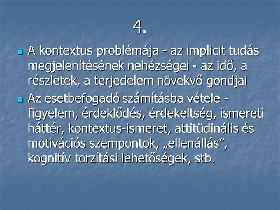 4.  A kontextus problémája - az implicit tudás megjelenítésének nehézségei - az idő, a részletek, a terjedelem növekvő gondjai  Az esetbefogadó szám