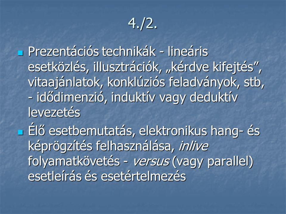 """4./2.  Prezentációs technikák - lineáris esetközlés, illusztrációk, """"kérdve kifejtés"""", vitaajánlatok, konklúziós feladványok, stb, - idődimenzió, ind"""