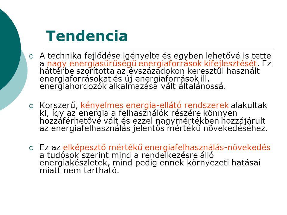 Tendencia  A technika fejlődése igényelte és egyben lehetővé is tette a nagy energiasűrűségű energiaforrások kifejlesztését. Ez háttérbe szorította a