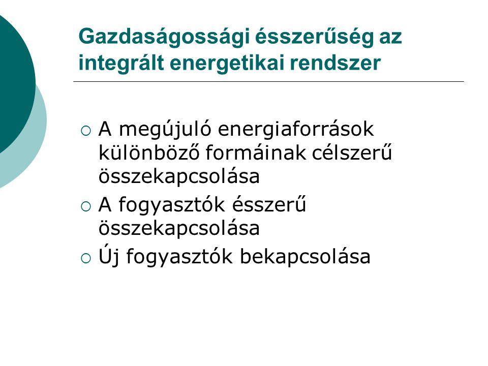Gazdaságossági ésszerűség az integrált energetikai rendszer  A megújuló energiaforrások különböző formáinak célszerű összekapcsolása  A fogyasztók ésszerű összekapcsolása  Új fogyasztók bekapcsolása
