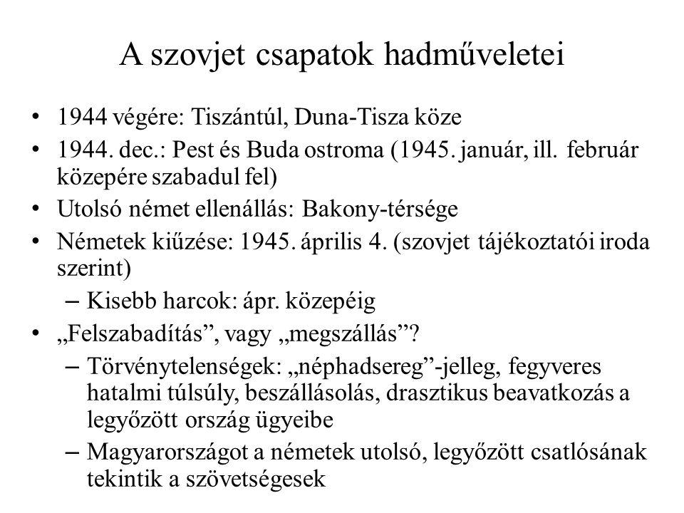 A szovjet csapatok hadműveletei • 1944 végére: Tiszántúl, Duna-Tisza köze • 1944. dec.: Pest és Buda ostroma (1945. január, ill. február közepére szab