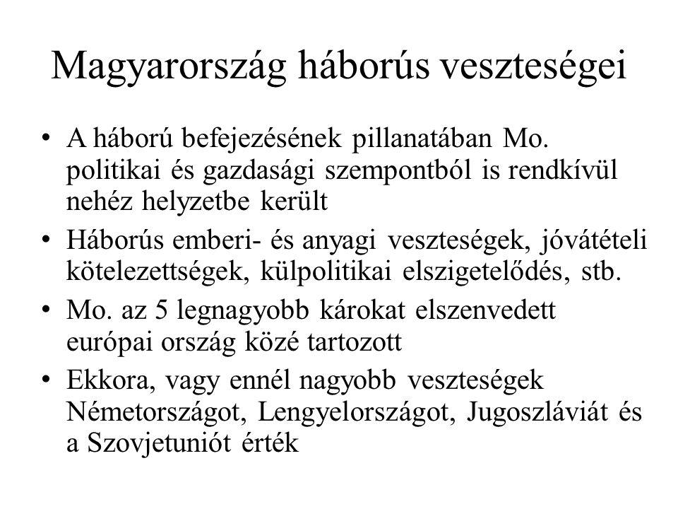 Magyarország háborús veszteségei • A háború befejezésének pillanatában Mo. politikai és gazdasági szempontból is rendkívül nehéz helyzetbe került • Há