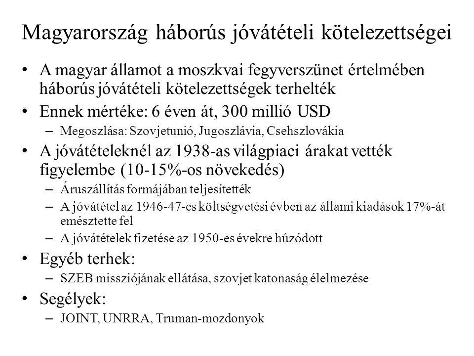 Magyarország háborús jóvátételi kötelezettségei • A magyar államot a moszkvai fegyverszünet értelmében háborús jóvátételi kötelezettségek terhelték •