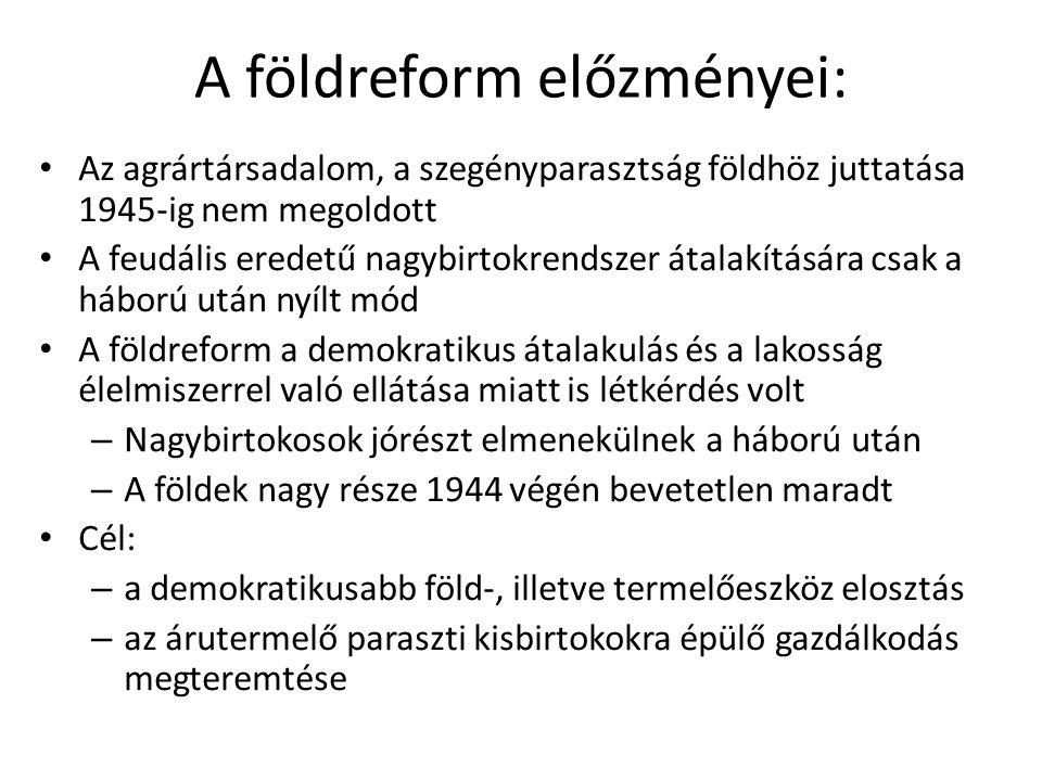 A földreform előzményei: • Az agrártársadalom, a szegényparasztság földhöz juttatása 1945-ig nem megoldott • A feudális eredetű nagybirtokrendszer áta
