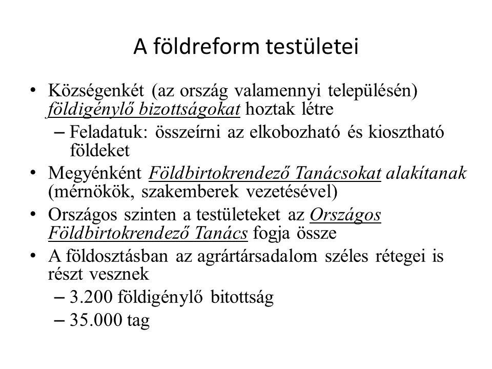 A földreform testületei • Községenkét (az ország valamennyi településén) földigénylő bizottságokat hoztak létre – Feladatuk: összeírni az elkobozható