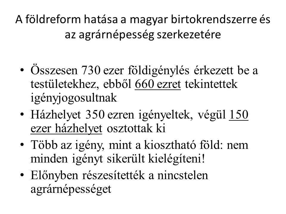A földreform hatása a magyar birtokrendszerre és az agrárnépesség szerkezetére • Összesen 730 ezer földigénylés érkezett be a testületekhez, ebből 660