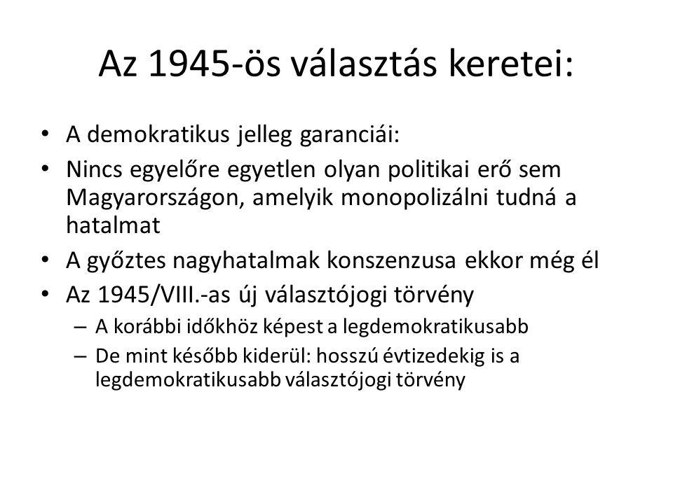 Az 1945-ös választás keretei: • A demokratikus jelleg garanciái: • Nincs egyelőre egyetlen olyan politikai erő sem Magyarországon, amelyik monopolizál