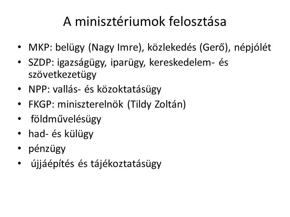 A minisztériumok felosztása • MKP: belügy (Nagy Imre), közlekedés (Gerő), népjólét • SZDP: igazságügy, iparügy, kereskedelem- és szövetkezetügy • NPP: