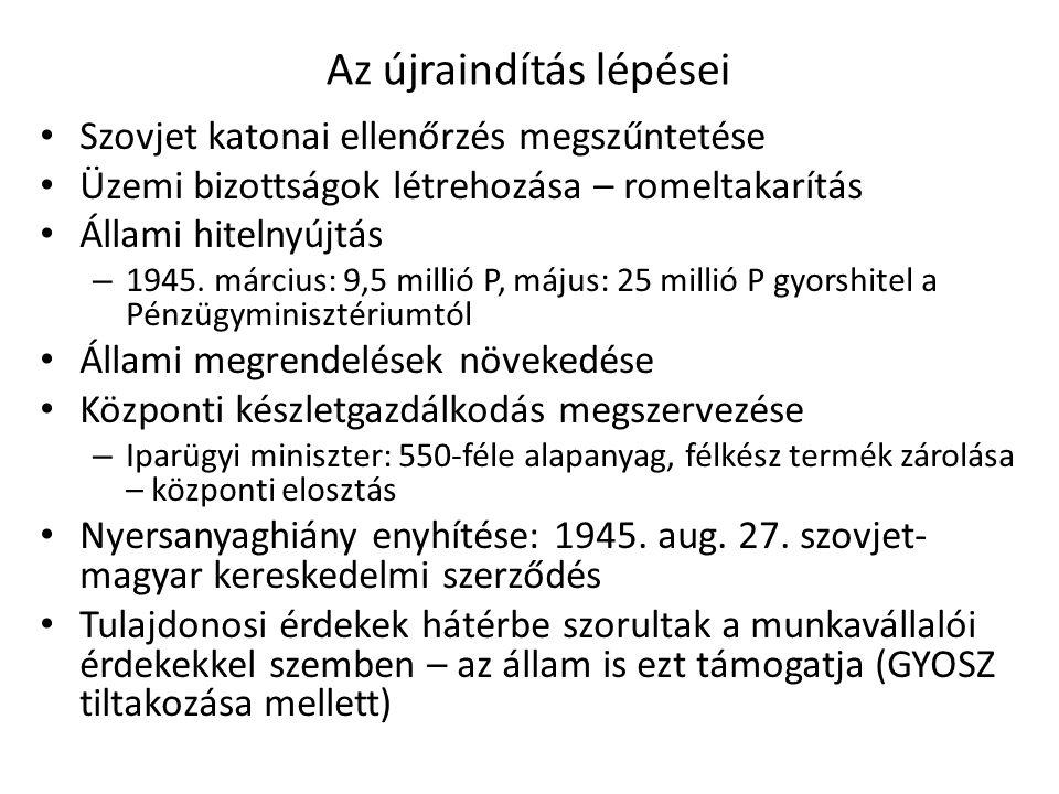 Az újraindítás lépései • Szovjet katonai ellenőrzés megszűntetése • Üzemi bizottságok létrehozása – romeltakarítás • Állami hitelnyújtás – 1945. márci