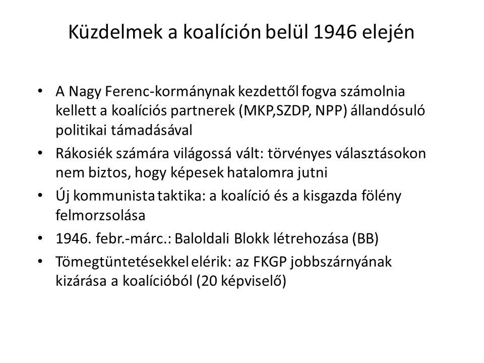 Küzdelmek a koalíción belül 1946 elején • A Nagy Ferenc-kormánynak kezdettől fogva számolnia kellett a koalíciós partnerek (MKP,SZDP, NPP) állandósuló