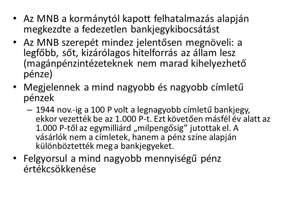 • Az MNB a kormánytól kapott felhatalmazás alapján megkezdte a fedezetlen bankjegykibocsátást • Az MNB szerepét mindez jelentősen megnöveli: a legfőbb