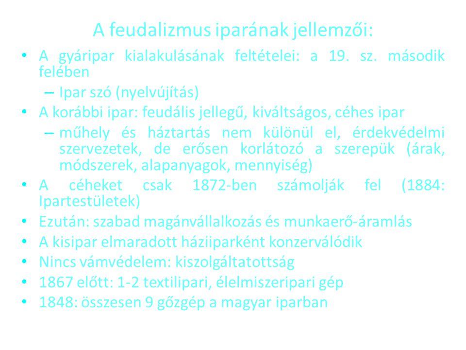 A feudalizmus iparának jellemzői: • A gyáripar kialakulásának feltételei: a 19. sz. második felében – Ipar szó (nyelvújítás) • A korábbi ipar: feudáli