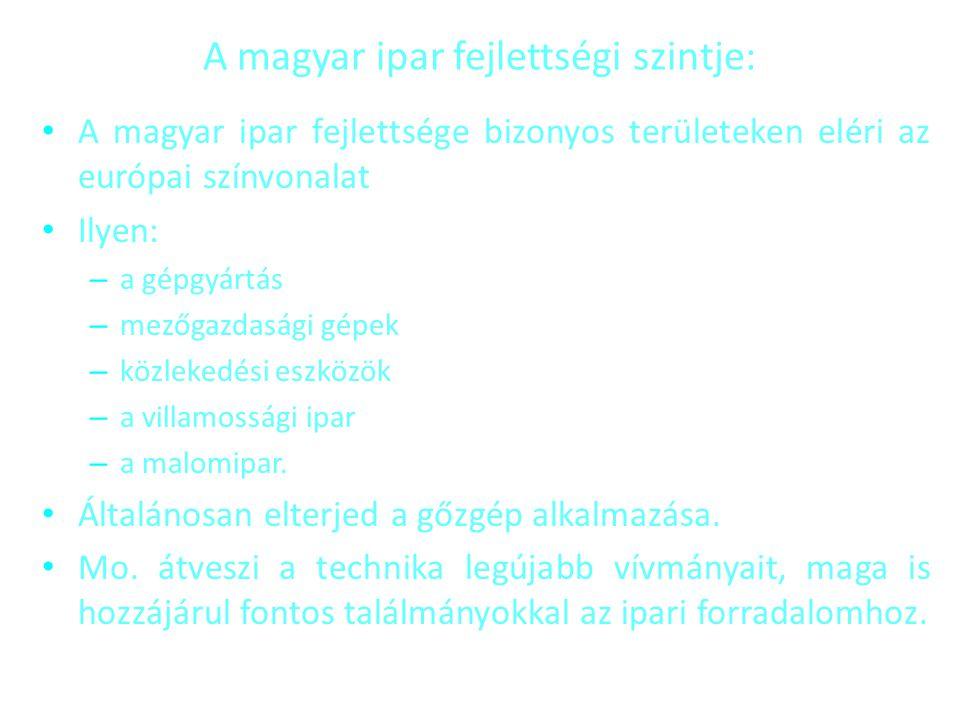 A magyar ipar fejlettségi szintje: • A magyar ipar fejlettsége bizonyos területeken eléri az európai színvonalat • Ilyen: – a gépgyártás – mezőgazdasá