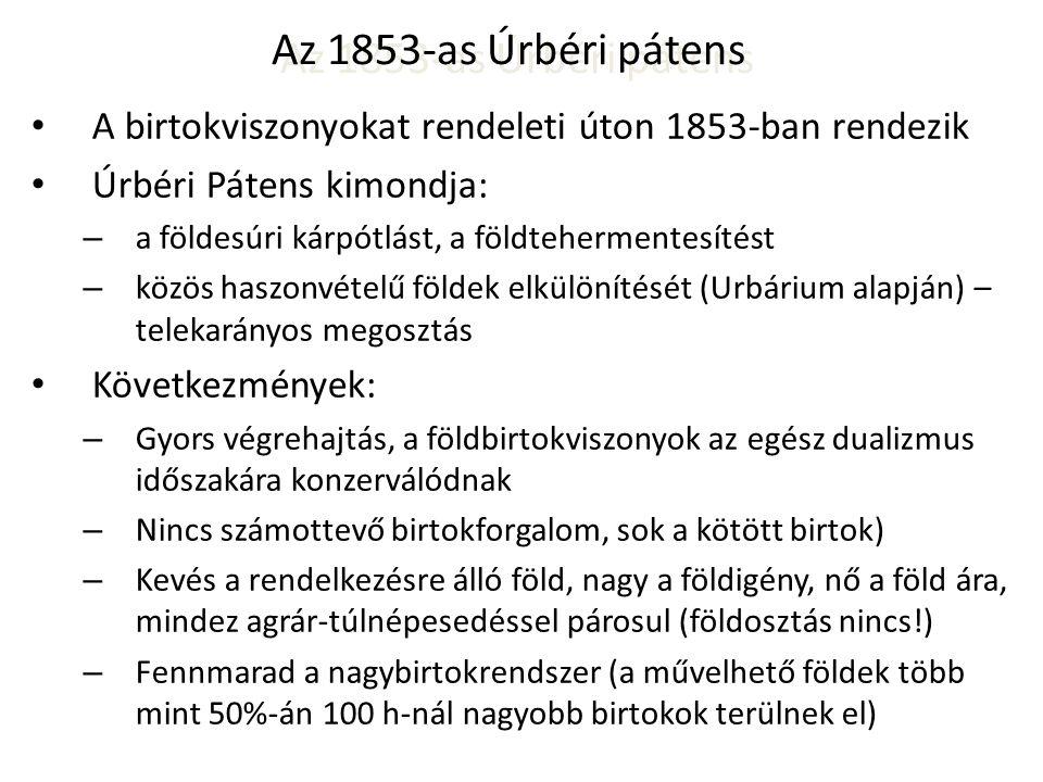 Az 1853-as Úrbéri pátens • A birtokviszonyokat rendeleti úton 1853-ban rendezik • Úrbéri Pátens kimondja: – a földesúri kárpótlást, a földtehermentesí
