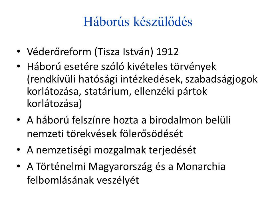 Háborús készülődés • Véderőreform (Tisza István) 1912 • Háború esetére szóló kivételes törvények (rendkívüli hatósági intézkedések, szabadságjogok kor