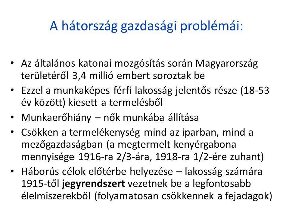 A hátország gazdasági problémái: • Az általános katonai mozgósítás során Magyarország területéről 3,4 millió embert soroztak be • Ezzel a munkaképes f