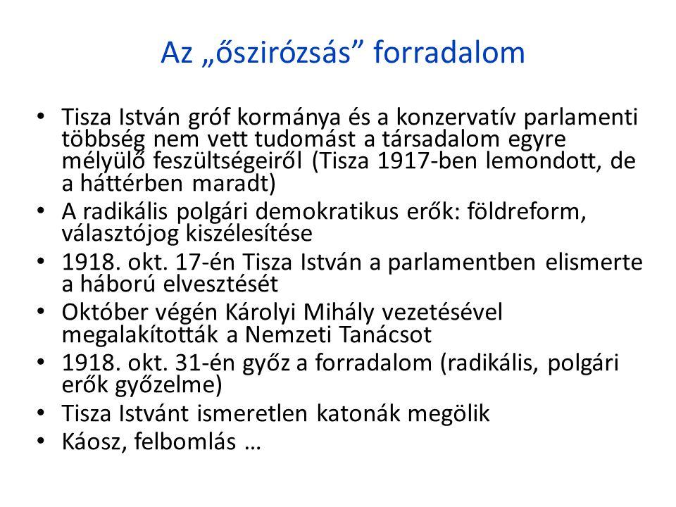 """Az """"őszirózsás"""" forradalom • Tisza István gróf kormánya és a konzervatív parlamenti többség nem vett tudomást a társadalom egyre mélyülő feszültségeir"""