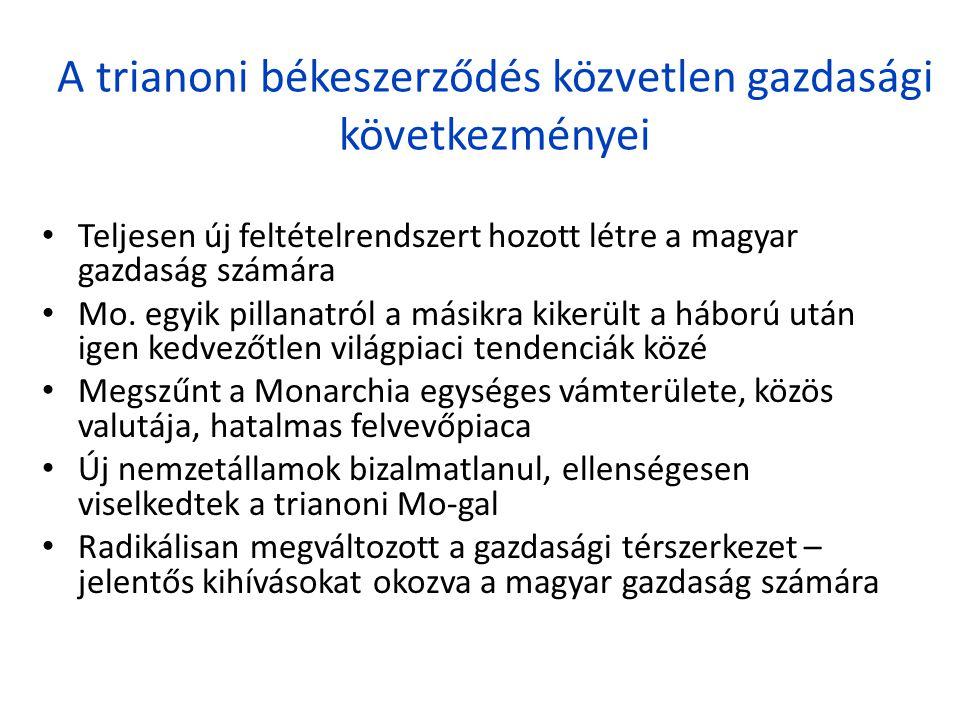 A trianoni békeszerződés közvetlen gazdasági következményei • Teljesen új feltételrendszert hozott létre a magyar gazdaság számára • Mo. egyik pillana