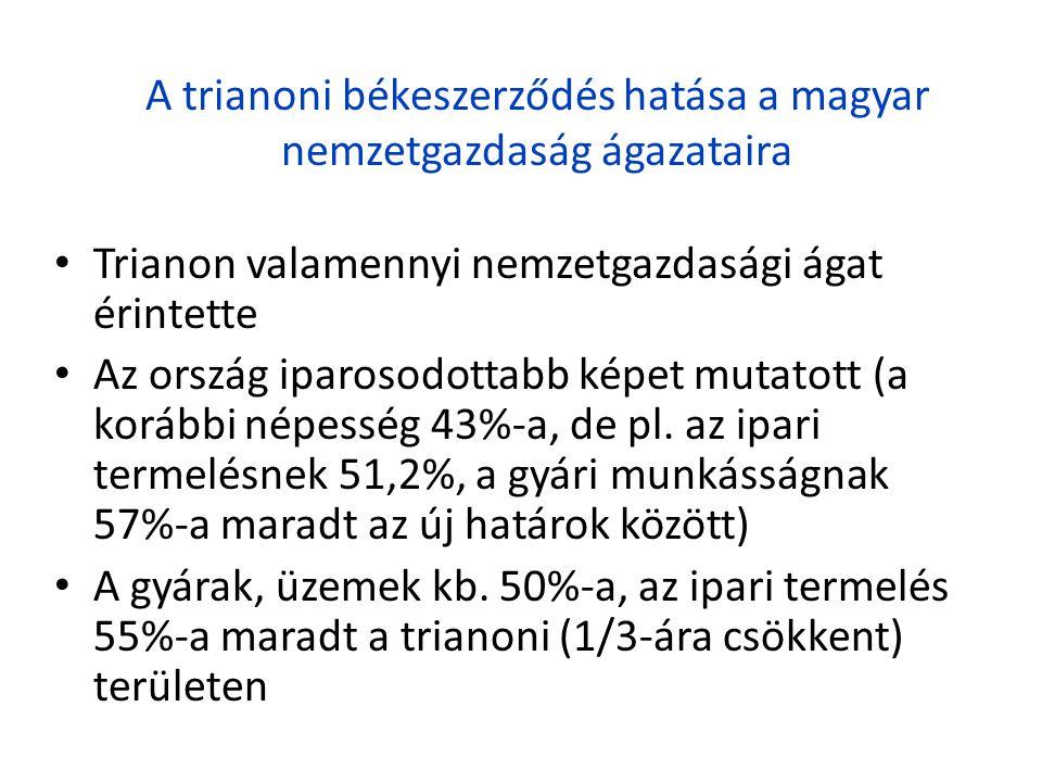 A trianoni békeszerződés hatása a magyar nemzetgazdaság ágazataira • Trianon valamennyi nemzetgazdasági ágat érintette • Az ország iparosodottabb képe