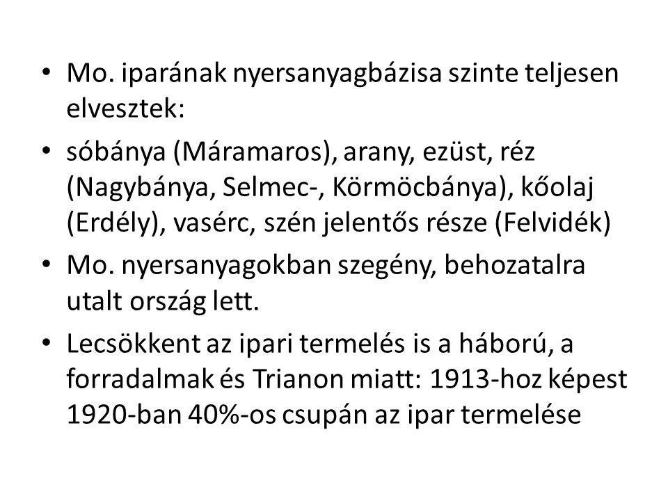 • Mo. iparának nyersanyagbázisa szinte teljesen elvesztek: • sóbánya (Máramaros), arany, ezüst, réz (Nagybánya, Selmec-, Körmöcbánya), kőolaj (Erdély)