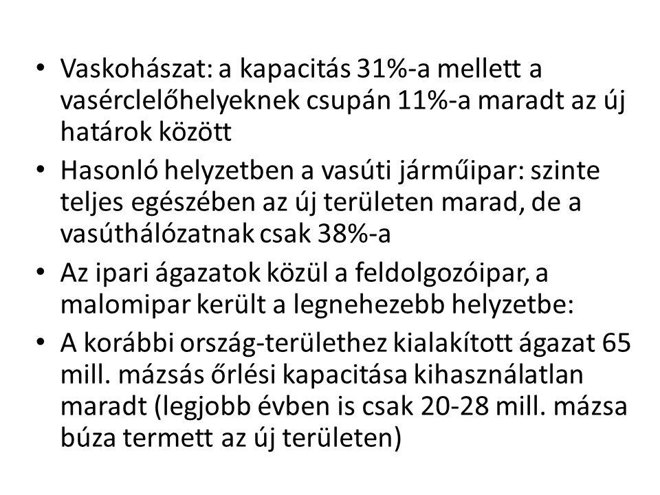 • Vaskohászat: a kapacitás 31%-a mellett a vasérclelőhelyeknek csupán 11%-a maradt az új határok között • Hasonló helyzetben a vasúti járműipar: szint