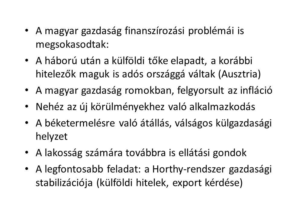 • A magyar gazdaság finanszírozási problémái is megsokasodtak: • A háború után a külföldi tőke elapadt, a korábbi hitelezők maguk is adós országgá vál
