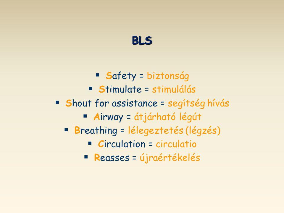 BLS   Safety = biztonság   Stimulate = stimulálás   Shout for assistance = segítség hívás   Airway = átjárható légút   Breathing = lélegezte