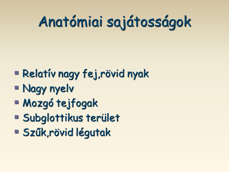 Anatómiai sajátosságok  Relatív nagy fej,rövid nyak  Nagy nyelv  Mozgó tejfogak  Subglottikus terület  Szűk,rövid légutak