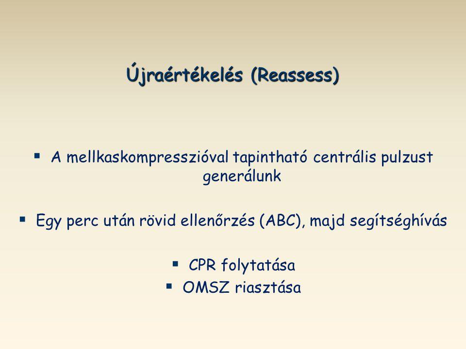 Újraértékelés (Reassess)   A mellkaskompresszióval tapintható centrális pulzust generálunk   Egy perc után rövid ellenőrzés (ABC), majd segítséghí