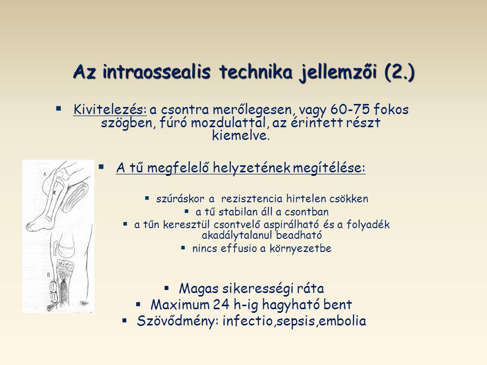 Az intraossealis technika jellemzői (2.)   Kivitelezés: a csontra merőlegesen, vagy 60-75 fokos szögben, fúró mozdulattal, az érintett részt kiemelv