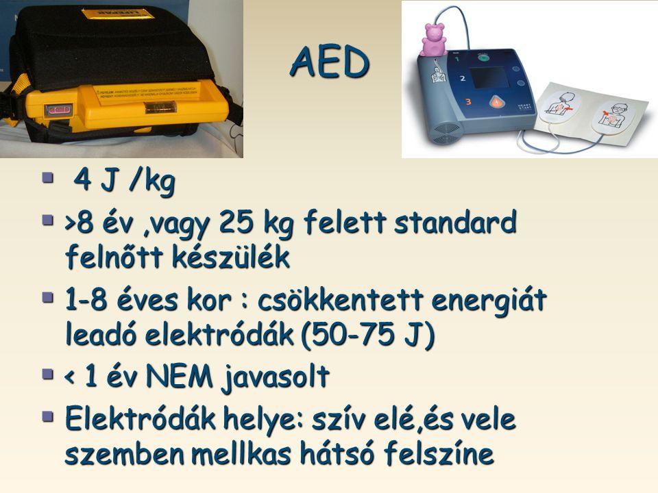 AED  4 J /kg  >8 év,vagy 25 kg felett standard felnőtt készülék  1-8 éves kor : csökkentett energiát leadó elektródák (50-75 J)  < 1 év NEM javaso