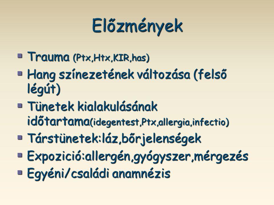 Előzmények  Trauma (Ptx,Htx,KIR,has)  Hang színezetének változása (felső légút)  Tünetek kialakulásának időtartama (idegentest,Ptx,allergia,infecti