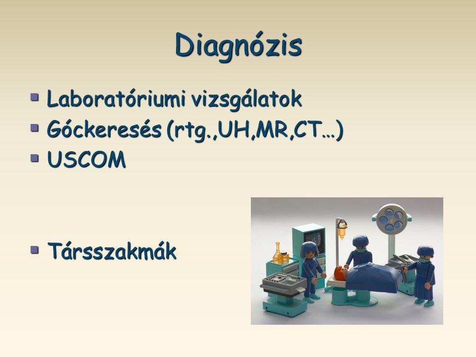 Diagnózis  Laboratóriumi vizsgálatok  Góckeresés (rtg.,UH,MR,CT…)  USCOM  Társszakmák