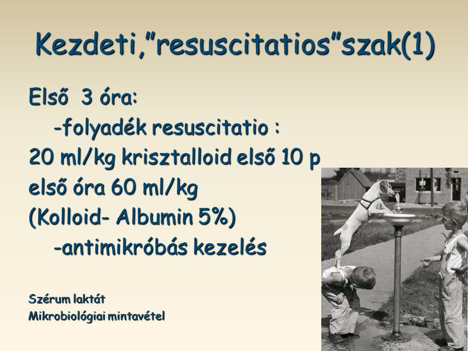 """Kezdeti,""""resuscitatios""""szak(1) Első 3 óra: -folyadék resuscitatio : -folyadék resuscitatio : 20 ml/kg krisztalloid első 10 p első óra 60 ml/kg (Kolloi"""