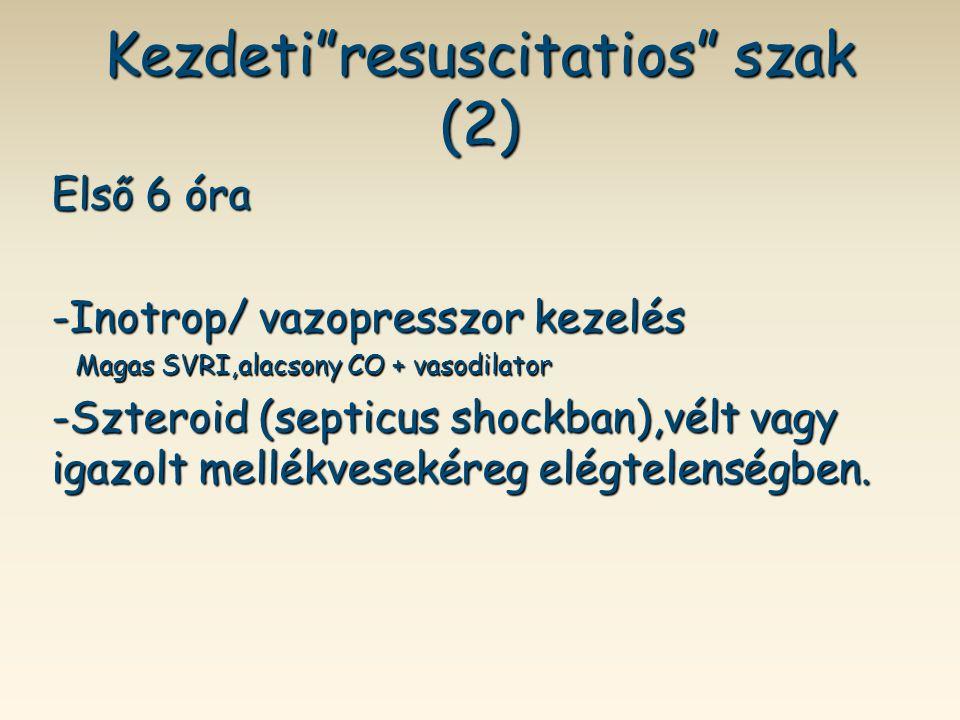 """Kezdeti""""resuscitatios"""" szak (2) Első 6 óra -Inotrop/ vazopresszor kezelés Magas SVRI,alacsony CO + vasodilator Magas SVRI,alacsony CO + vasodilator -S"""